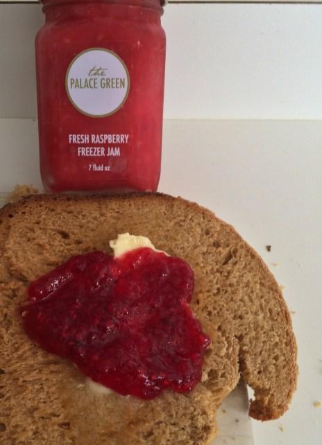PALACE GREEN Fresh Raspberry Freezer Jam Heart on Swedish Rye Bread